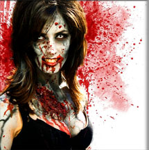 Bloodied zombie woman with blood spatter background